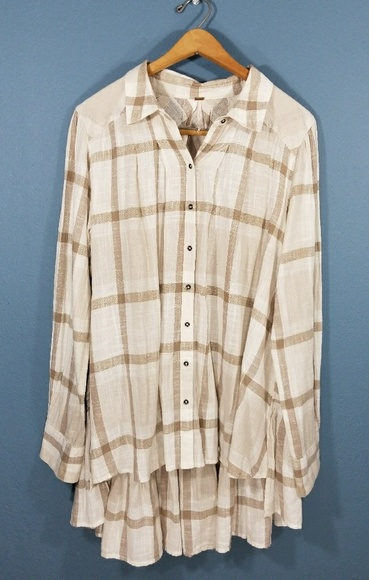160db84f Free People Tops - Free People button up oversized tunic womens